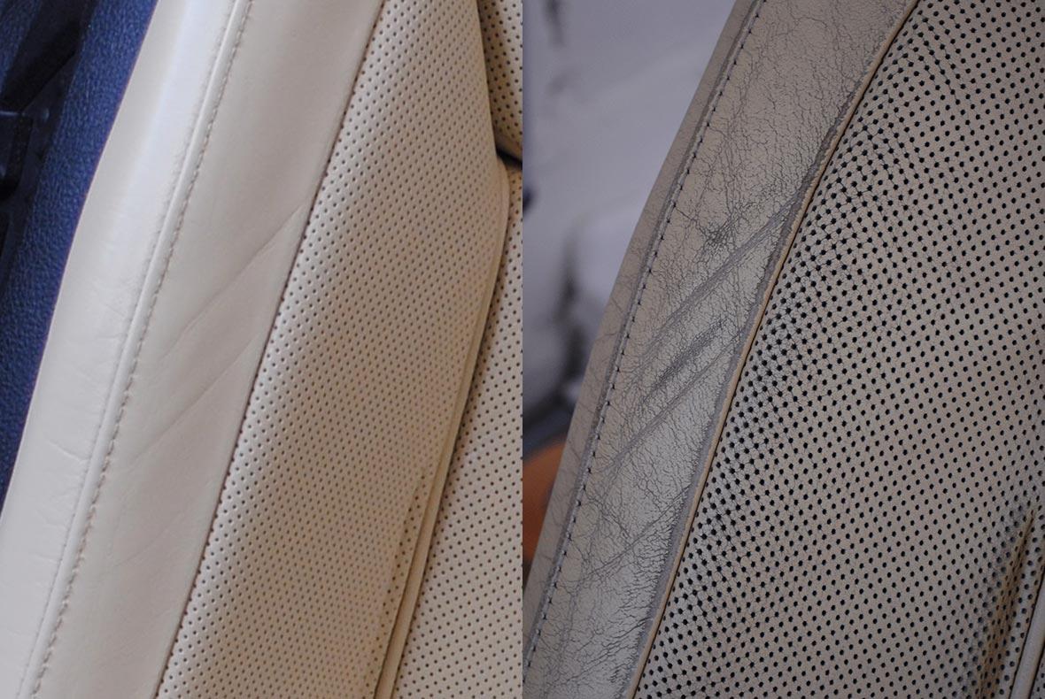 На фото кожа автомобильного кресла до и после покраски.