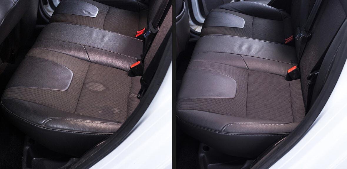 На фото кресло заднего сиденья автомобиля до чистки и после чистки. На первом фото есть пятна, а на втором их нет.