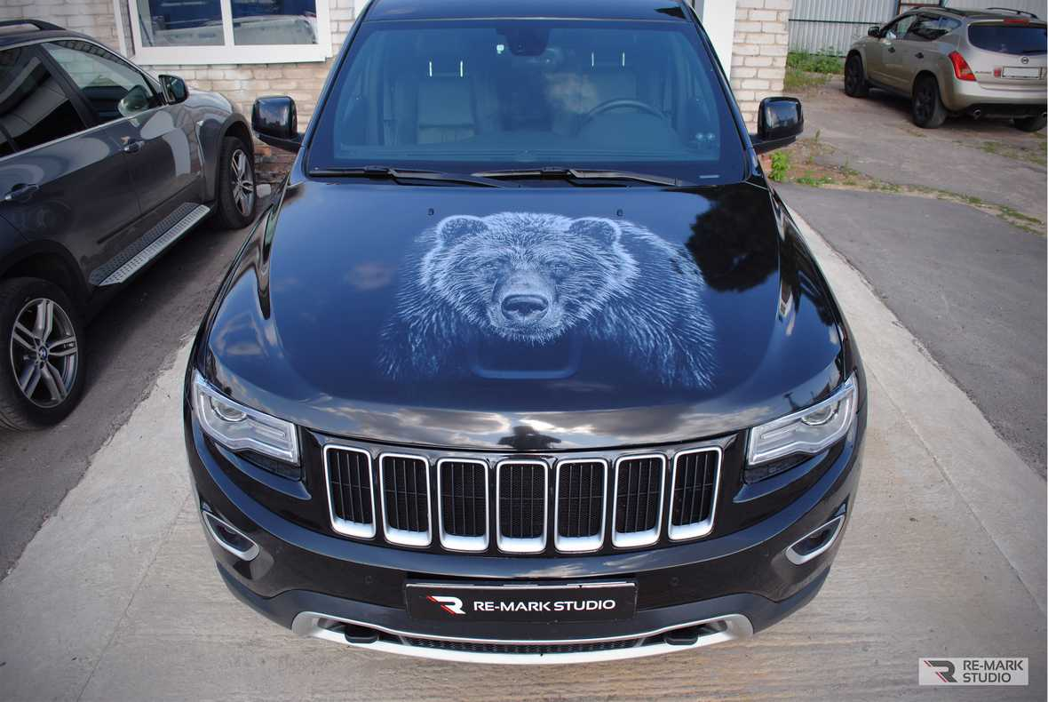 На фото винилография с монохромным изображением медведя на капоте автомобиля.