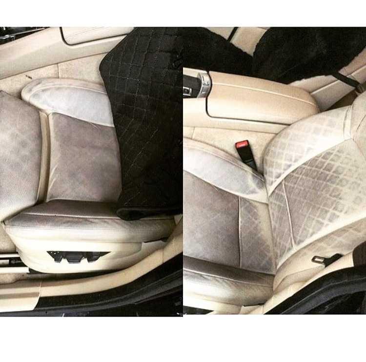 Смотреть на фото, как накидки портят автомобильные сидения.
