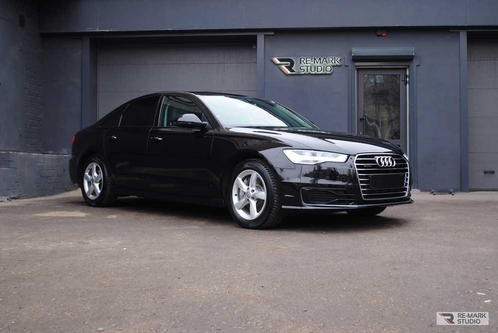 Смотреть на фото Audi A6 после керамической полировки и бронирования антигравийной пленкой.