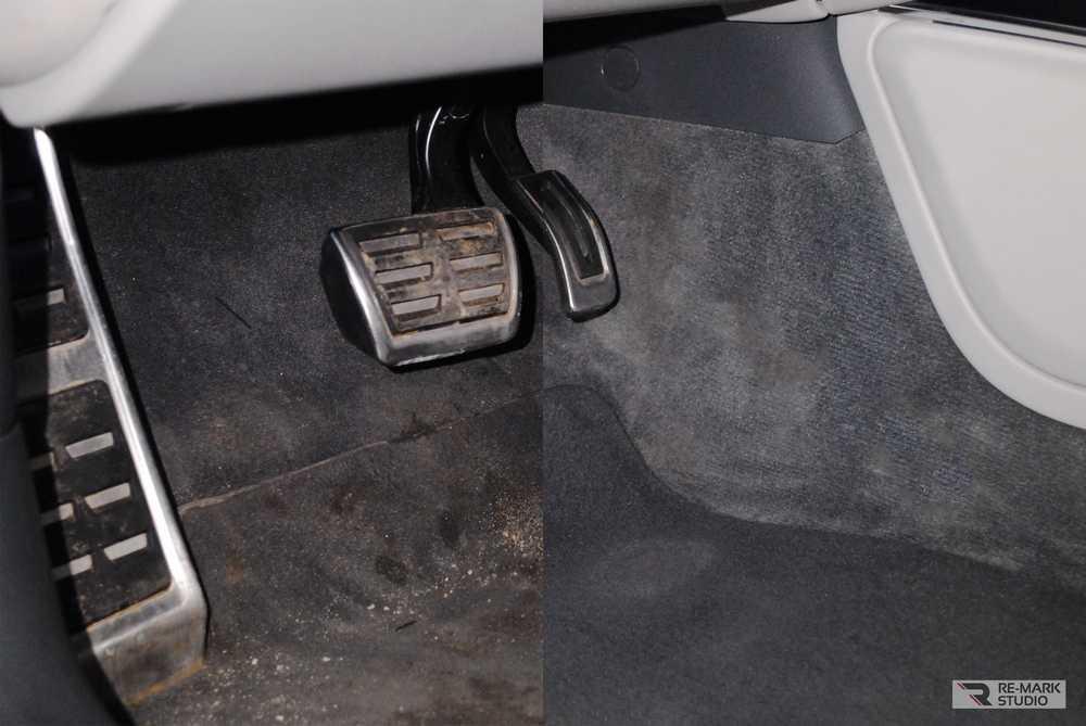 Смотреть на фото салон Audi A6 после химчистки в студии Ре-Марк из Воронежа.