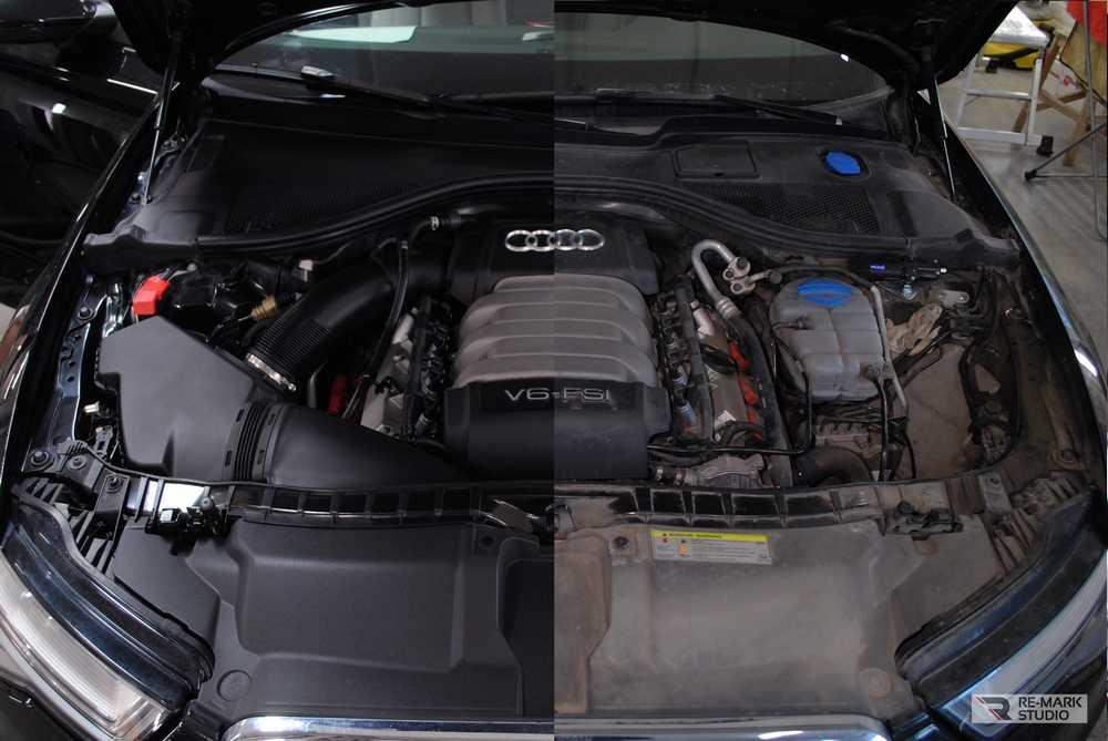 Смотреть на фото мотор Audi A6 после ручной мойки с нанесением консерванта. Воронежский детейлинг-центр Re-Mark Studio.