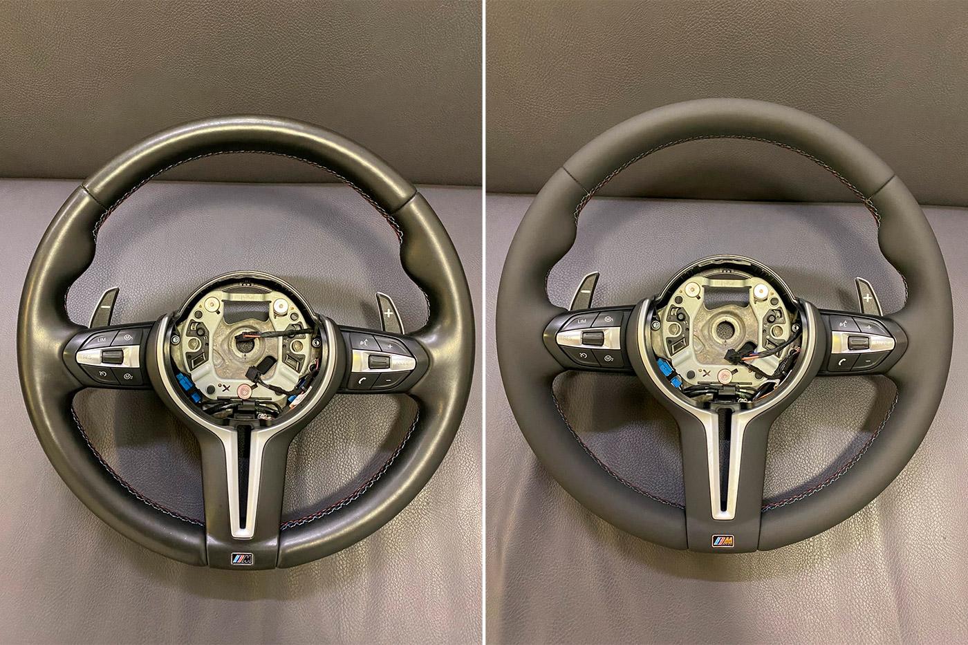 Смотреть на фото руль автомобиля БМВ до и после реставрации.