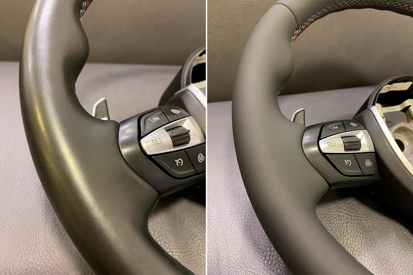 Смотреть на фото, какой эффект дает реставрация кожи на руле с применением красок и наполнителей фирмы LeTech.