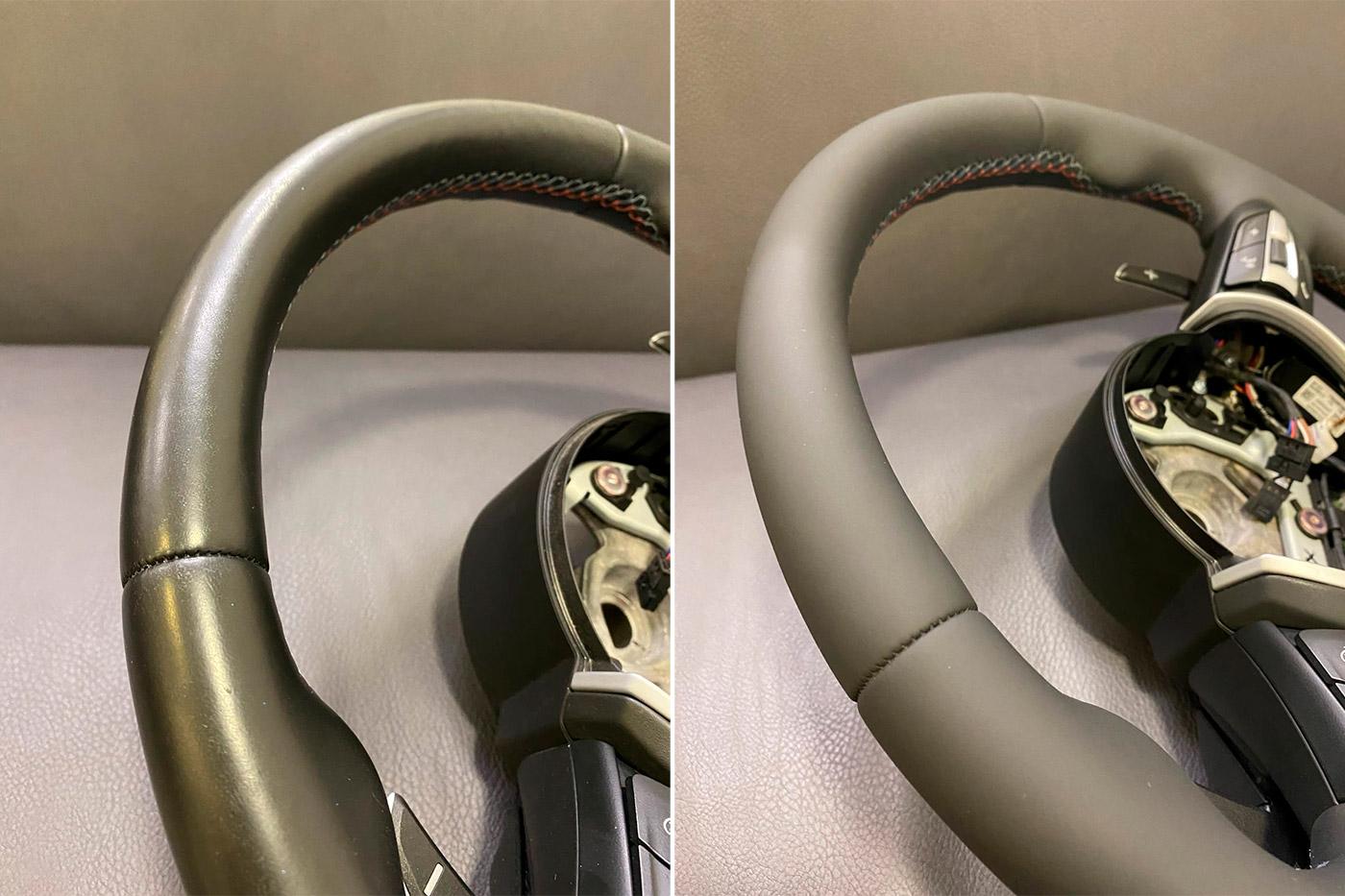 Смотреть на фото, как выглядит оригинальный заводской шов на руле после покраски кожи.