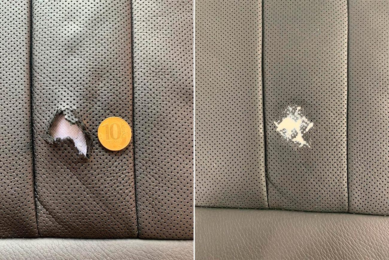Смотреть на фото процесс устранения повреждения на кожаном автомобильном кресле.