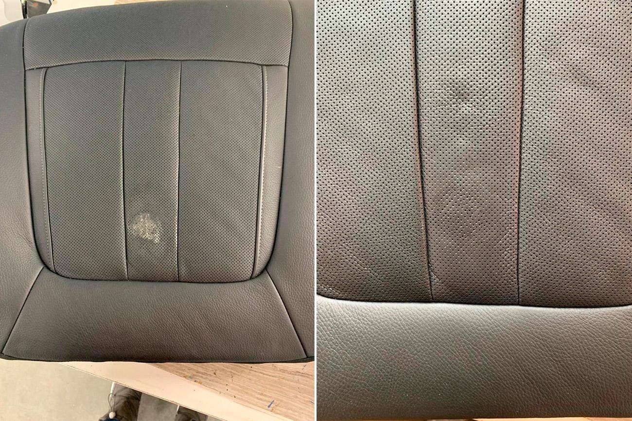 Сравнительное фото: автомобильное кресло до и после ремонта разрыва на коже.