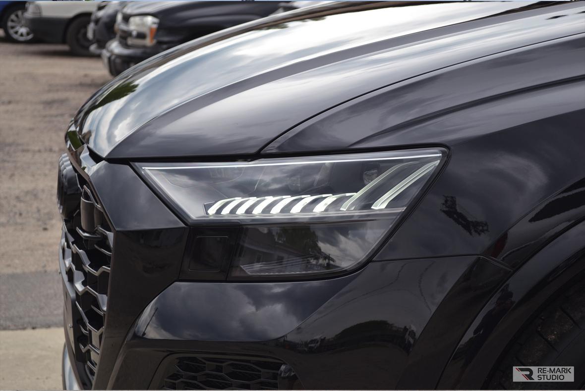 Фото из кейса фирмы «RE-MARK STUDIO»: бронирование бампера автомобиля Audi RS Q8 без снятия.